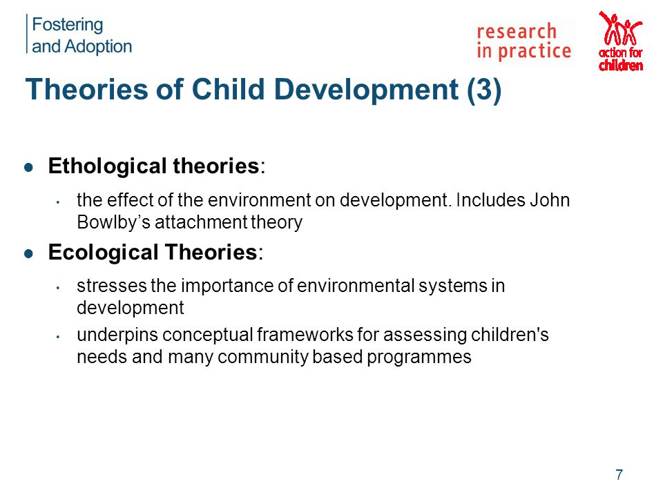 Theories of Child Development (3) Ethological theories: the effect of the environment on development. Includes John Bowlby's attachment theory Ecologi