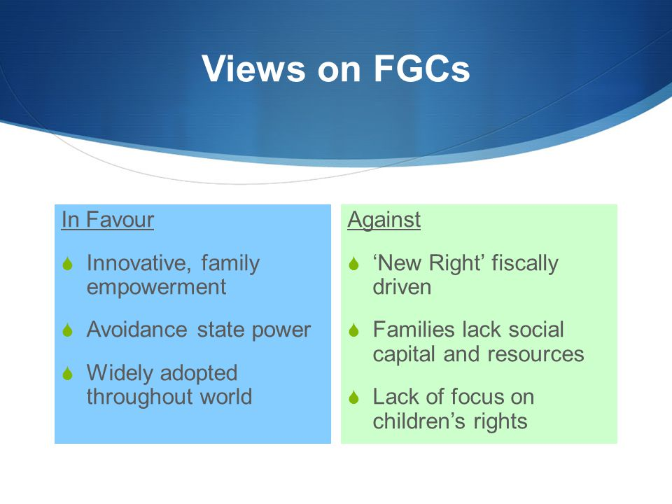 Views on FGCs In Favour  Innovative, family empowerment  Avoidance state power  Widely adopted throughout world Against  'New Right' fiscally driv