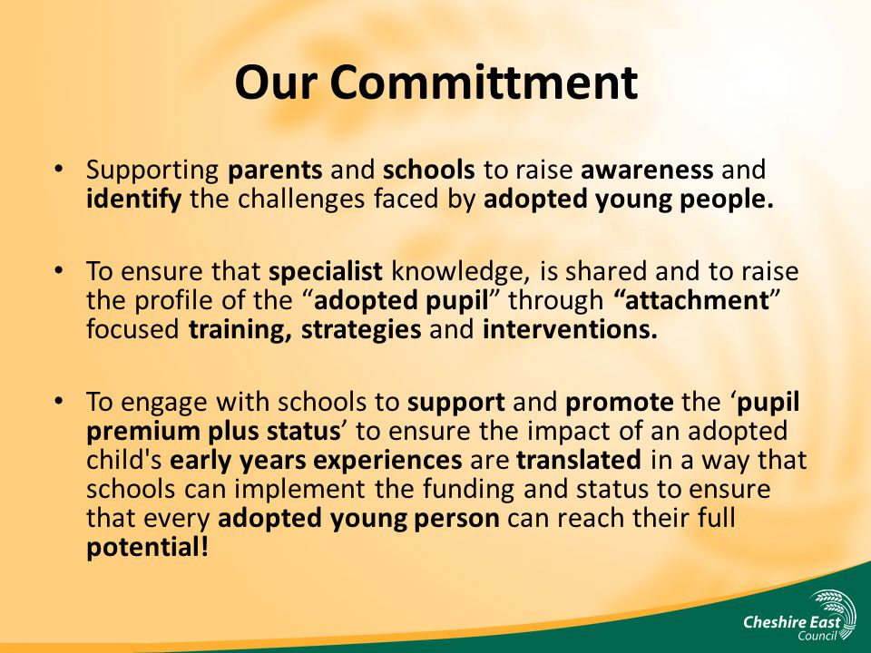 Our Committment Supporting parents and schools to raise awareness and identify the challenges faced by adopted young people.
