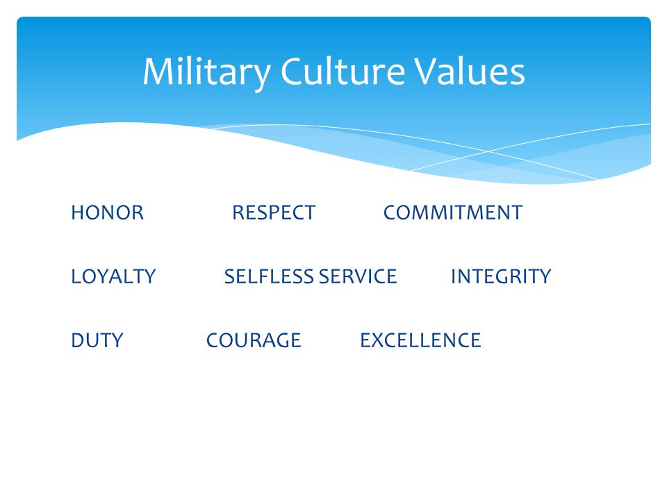 HONOR RESPECT COMMITMENT LOYALTY SELFLESS SERVICE INTEGRITY DUTY COURAGE EXCELLENCE Military Culture Values