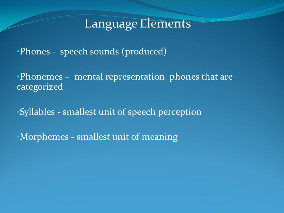 Language Elements Phones - speech sounds (produced) Phonemes – mental representation phones that are categorized Syllables - smallest unit of speech p