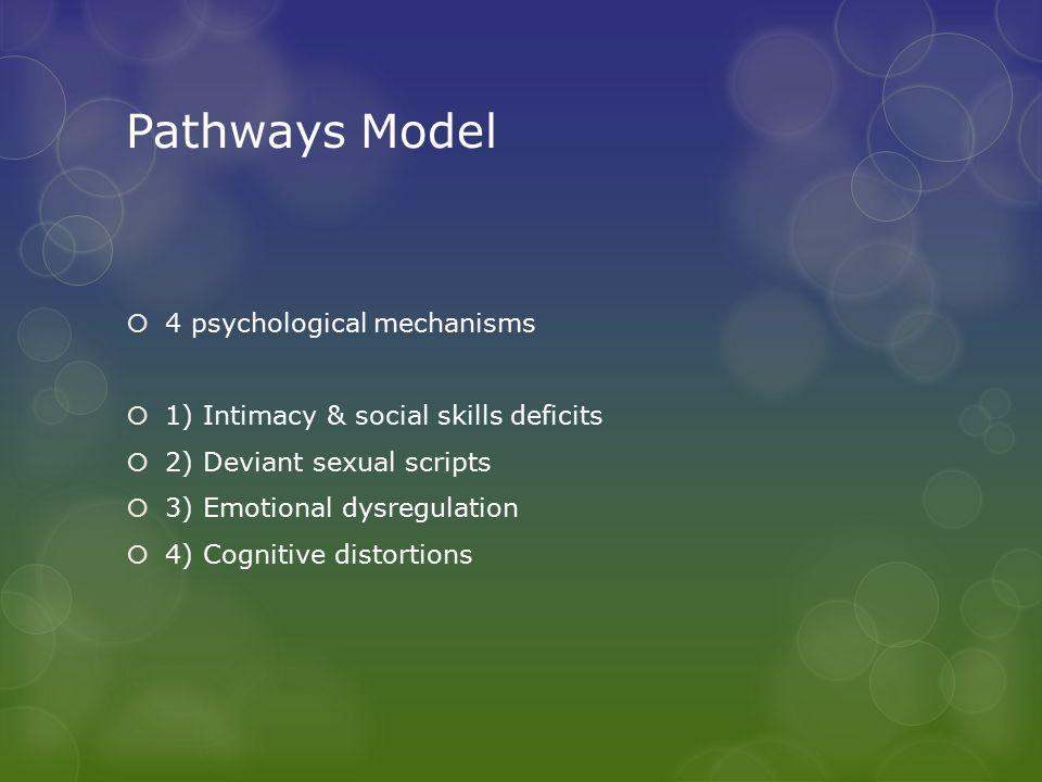 Pathways Model  4 psychological mechanisms  1) Intimacy & social skills deficits  2) Deviant sexual scripts  3) Emotional dysregulation  4) Cognitive distortions