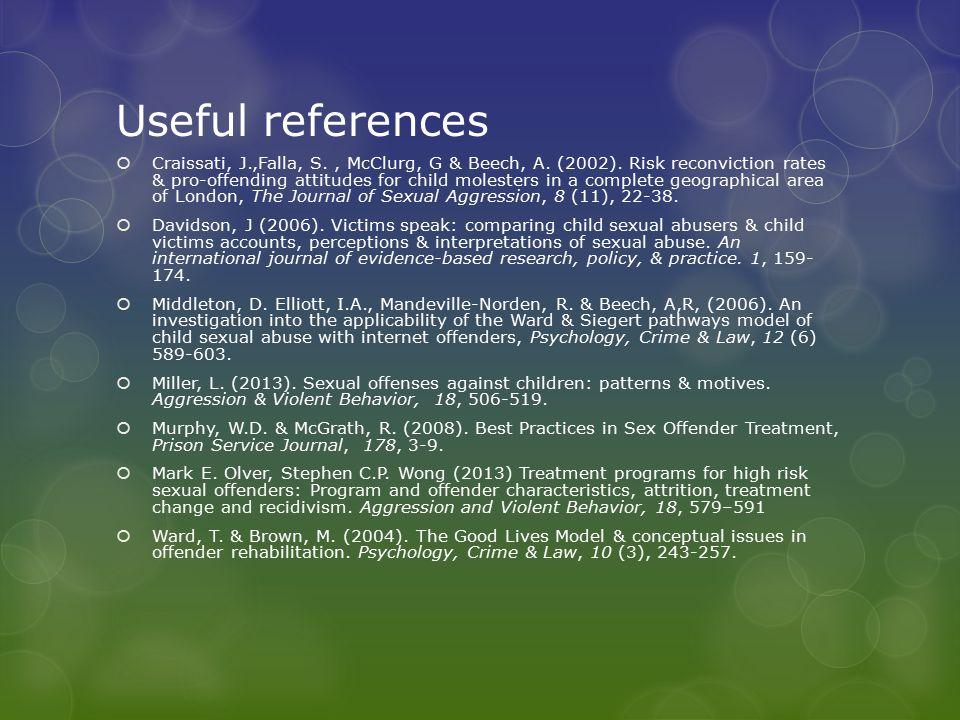 Useful references  Craissati, J.,Falla, S., McClurg, G & Beech, A.
