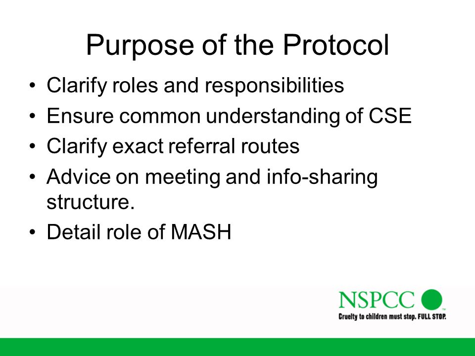 Purpose of the Protocol Clarify roles and responsibilities Ensure common understanding of CSE Clarify exact referral routes Advice on meeting and info