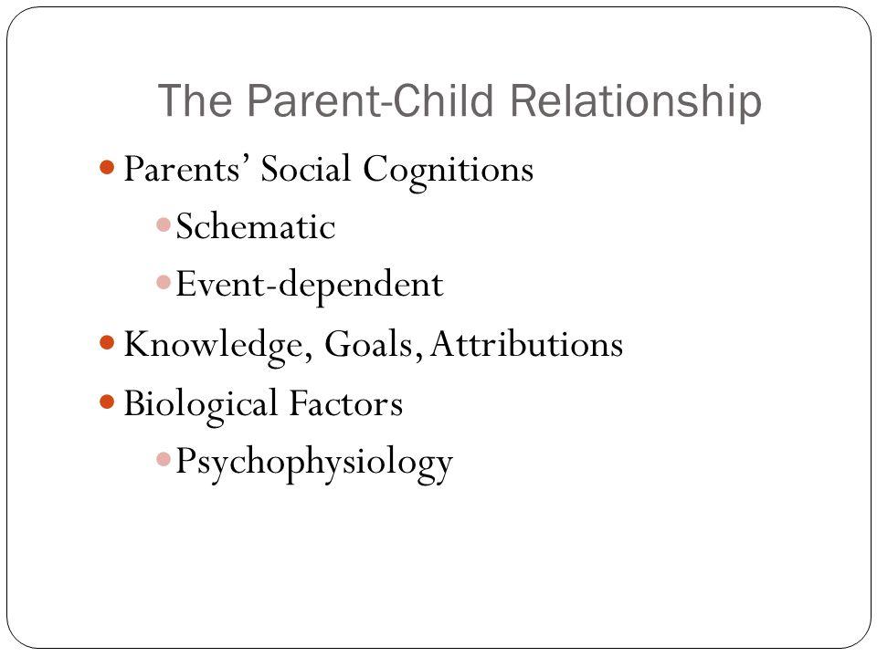 The Parent-Child Relationship Parents' Social Cognitions Schematic Event-dependent Knowledge, Goals, Attributions Biological Factors Psychophysiology