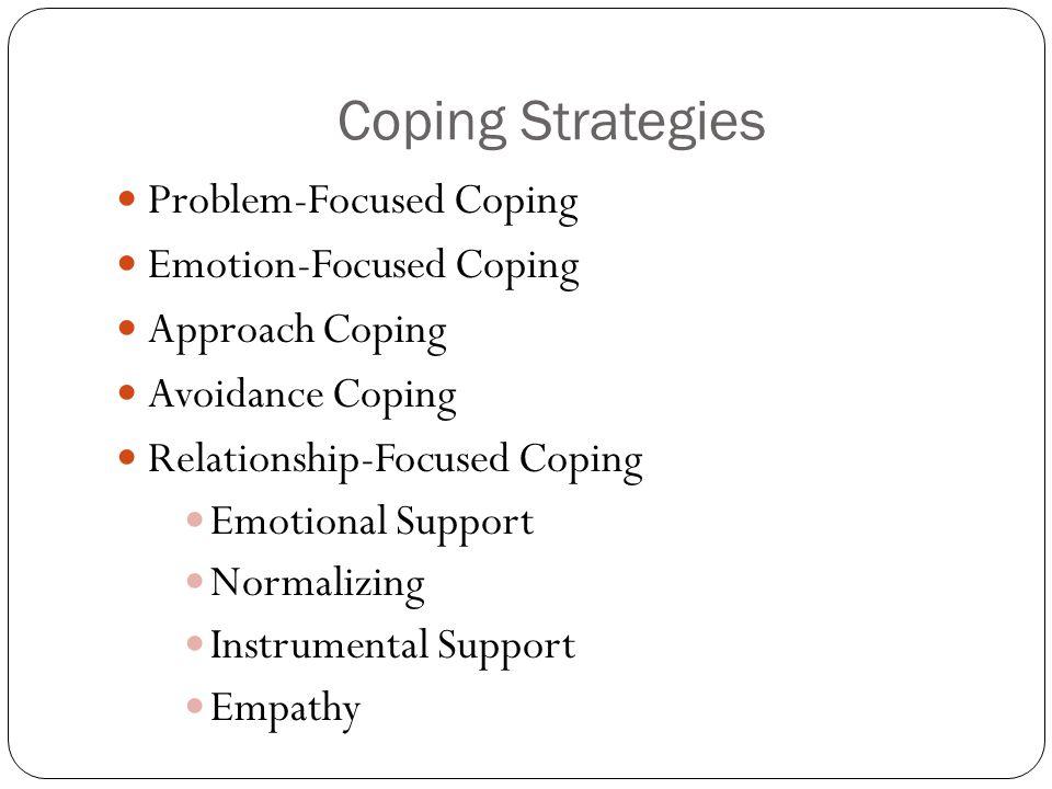 Coping Strategies Problem-Focused Coping Emotion-Focused Coping Approach Coping Avoidance Coping Relationship-Focused Coping Emotional Support Normali