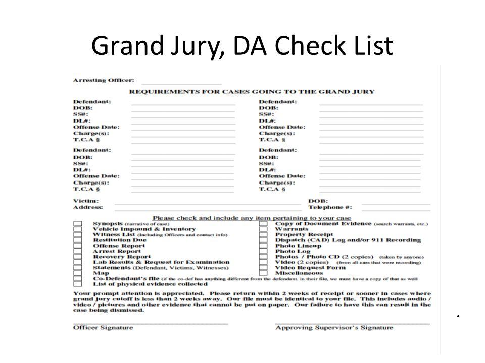 Grand Jury, DA Check List