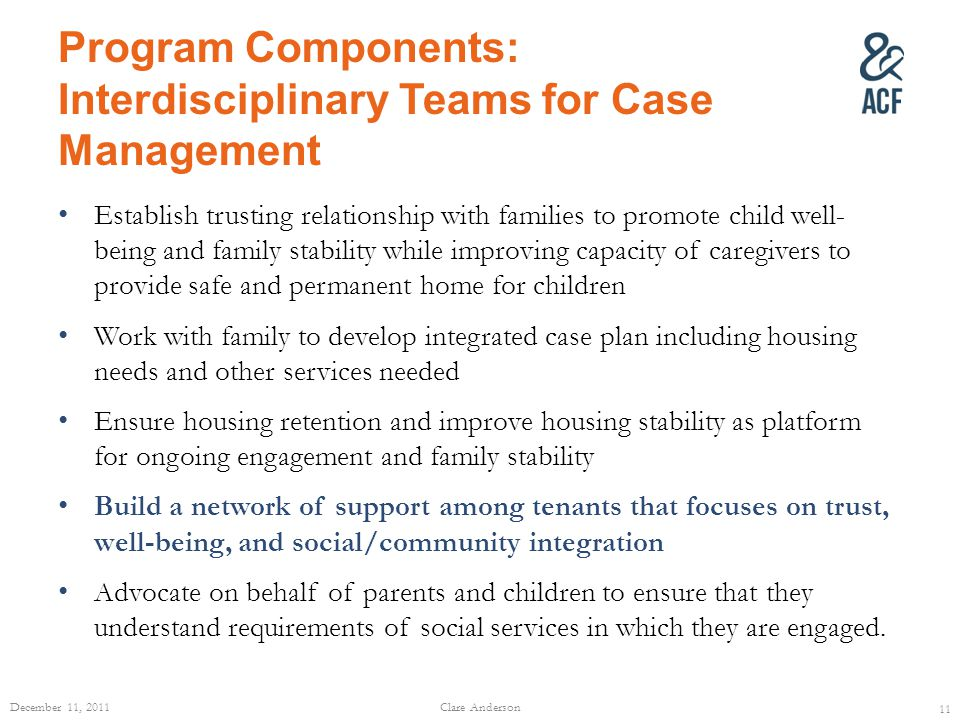 Program Components: Interdisciplinary Teams for Case Management Establish trusting relationship with families to promote child well- being and family