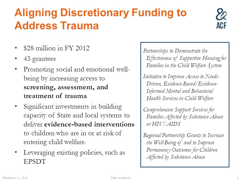 Aligning Discretionary Funding to Address Trauma $28 million in FY 2012 43 grantees Promoting social and emotional well- being by increasing access to