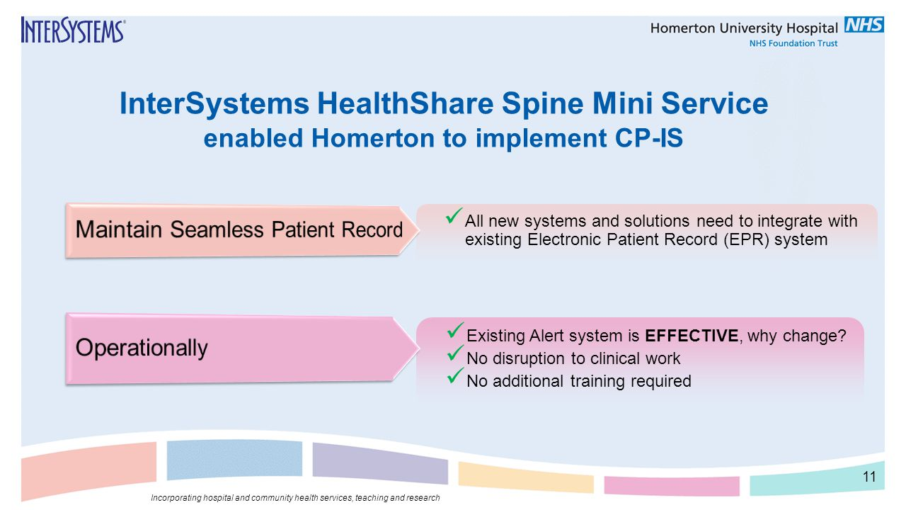 InterSystems HealthShare Spine Mini Service enabled Homerton to implement CP-IS All new systems and solutions need to integrate with existing Electron