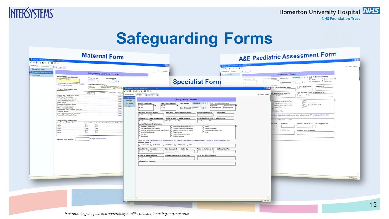 Safeguarding Forms Specialist Form 16 Incorporating hospital and community health services, teaching and research