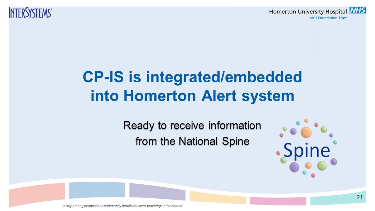 CP-IS is integrated/embedded into Homerton Alert system Ready to receive information from the National Spine Incorporating hospital and community heal