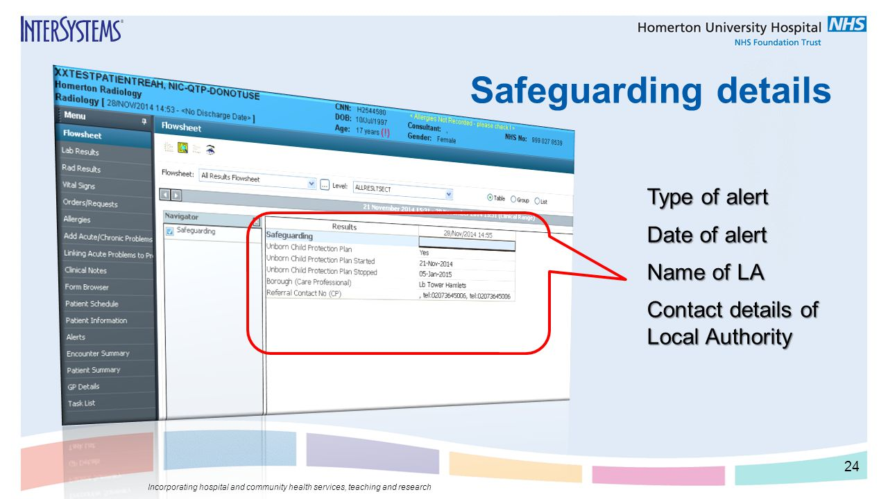 Safeguarding details Incorporating hospital and community health services, teaching and research 24 Type of alert Date of alert Name of LA Contact det