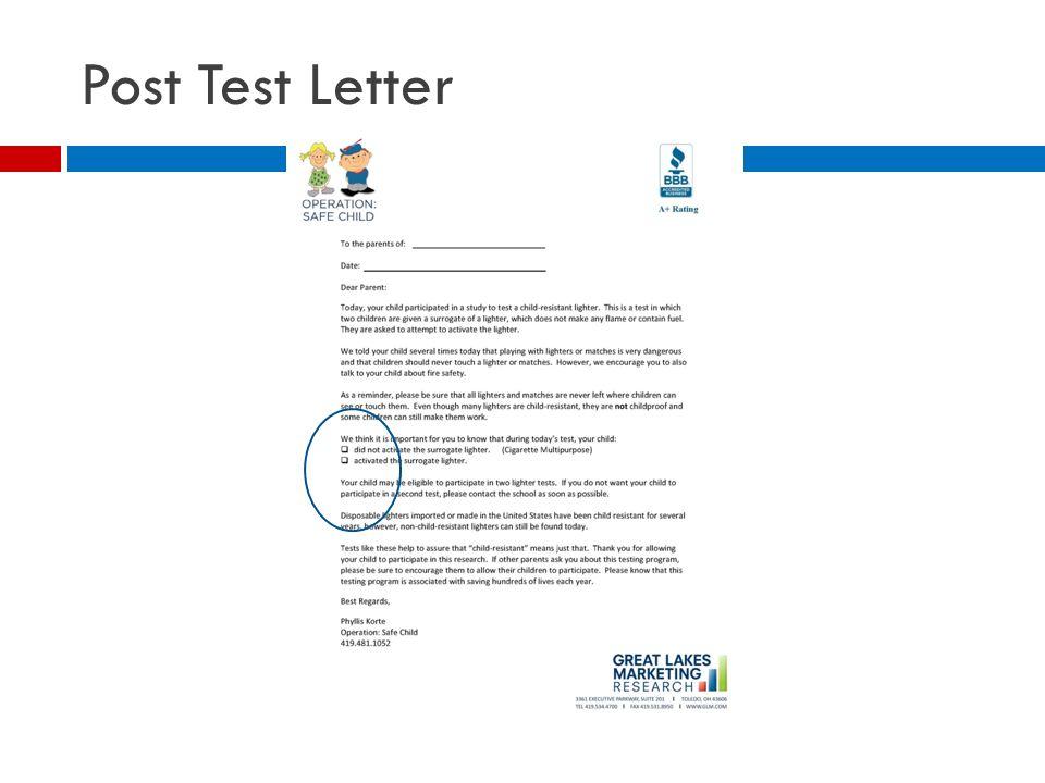 Post Test Letter