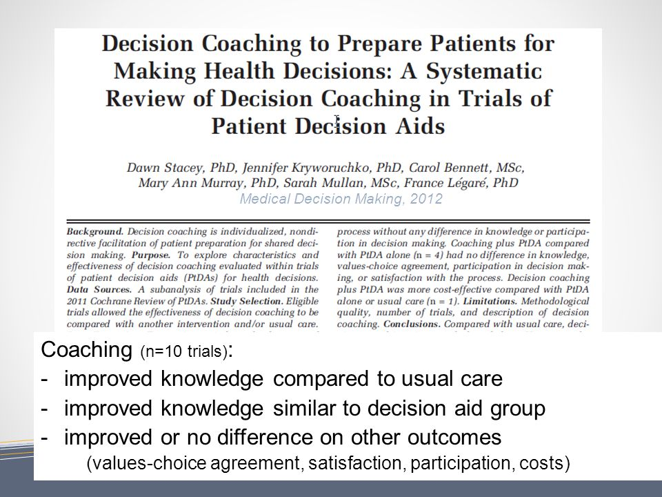 11 Coaching (n=10 trials) : - improved knowledge compared to usual care - improved knowledge similar to decision aid group - improved or no difference on other outcomes (values-choice agreement, satisfaction, participation, costs) Medical Decision Making, 2012