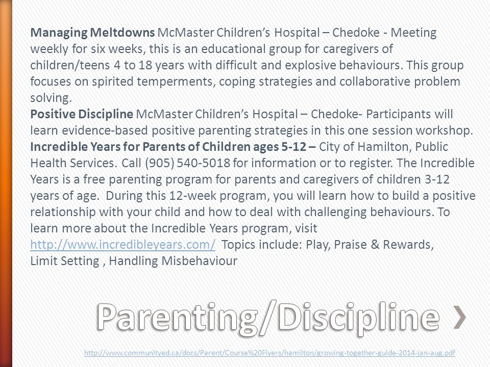 Managing Meltdowns McMaster Children's Hospital – Chedoke - Meeting weekly for six weeks, this is an educational group for caregivers of children/teens 4 to 18 years with difficult and explosive behaviours.