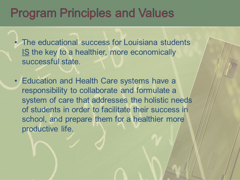 The educational success for Louisiana students IS the key to a healthier, more economically successful state. Education and Health Care systems have a