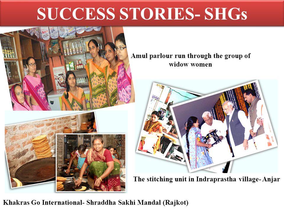 SUCCESS STORIES- SHGs Khakras Go International- Shraddha Sakhi Mandal (Rajkot) The stitching unit in Indraprastha village- Anjar Amul parlour run through the group of widow women