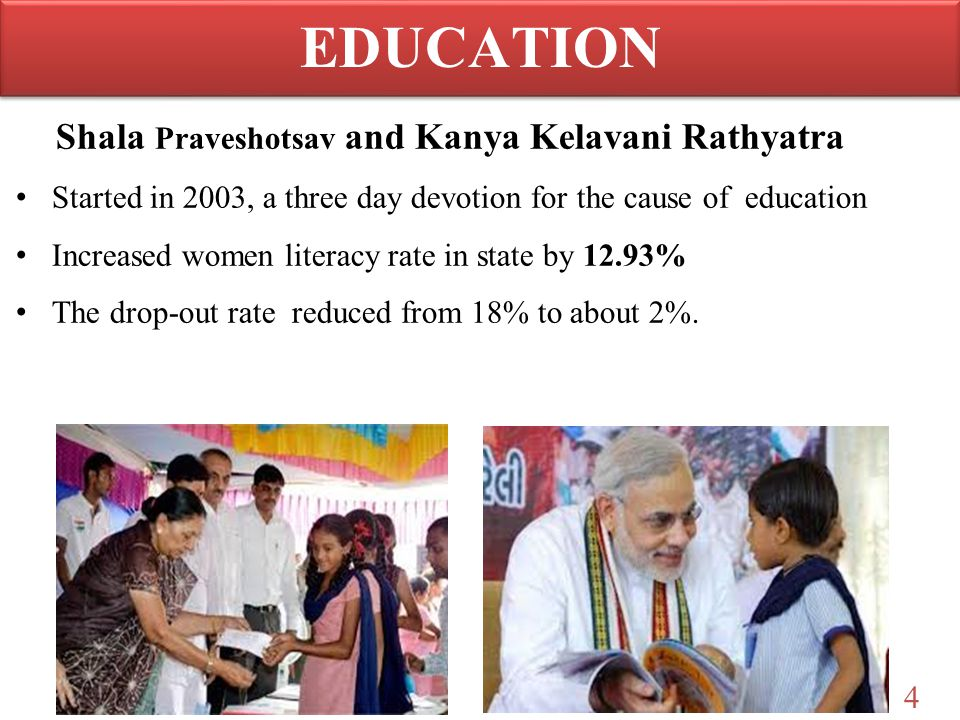 4 Shala Praveshotsav and Kanya Kelavani Rathyatra Started in 2003, a three day devotion for the cause of education Increased women literacy rate in st