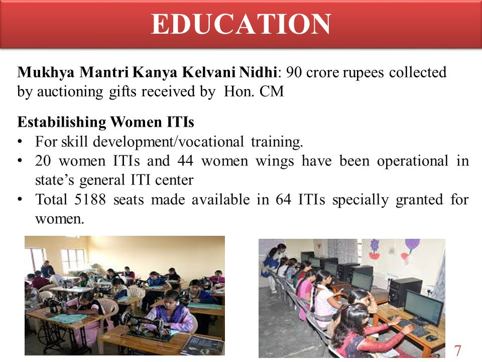 7 Mukhya Mantri Kanya Kelvani Nidhi: 90 crore rupees collected by auctioning gifts received by Hon. CM Estabilishing Women ITIs For skill development/