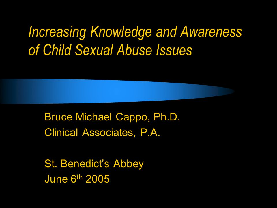 Goals Boundaries with Minors Prevalence, Identification and Prevention of Child abuse Self-protection from False Allegations of Sexual Abuse Warning Signs Associated with Preferential and Situational Abuse of Minors Discussion and Interaction - this should be an interactive presentation – discussion is learning