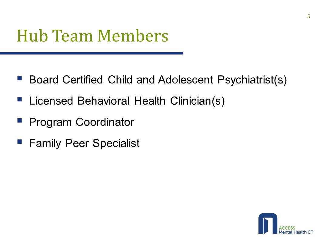 Hub Team Members  Board Certified Child and Adolescent Psychiatrist(s)  Licensed Behavioral Health Clinician(s)  Program Coordinator  Family Peer Specialist 5