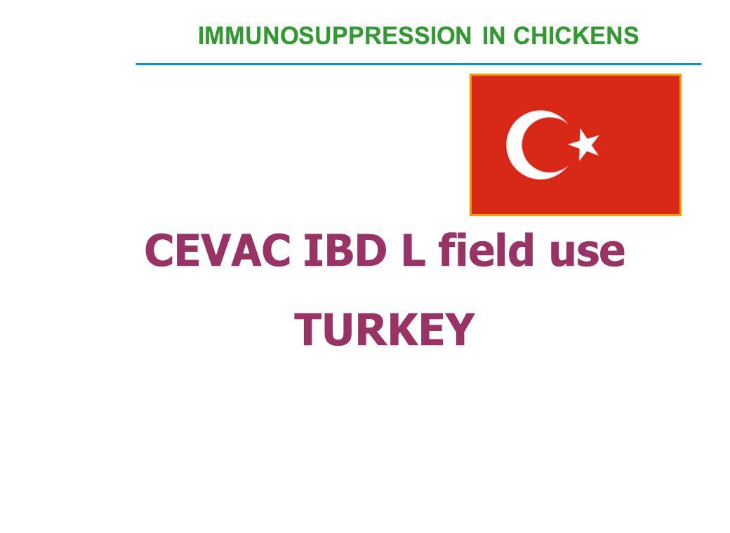 CEVAC IBD L field use TURKEY IMMUNOSUPPRESSION IN CHICKENS