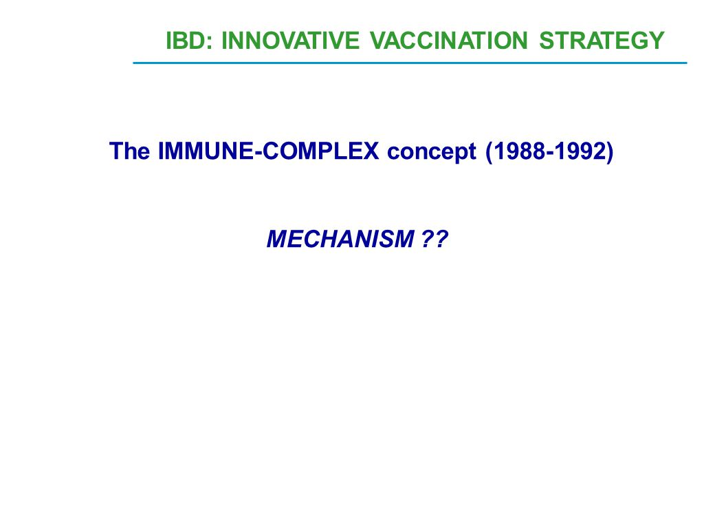 The IMMUNE-COMPLEX concept (1988-1992) MECHANISM ?? IBD: INNOVATIVE VACCINATION STRATEGY