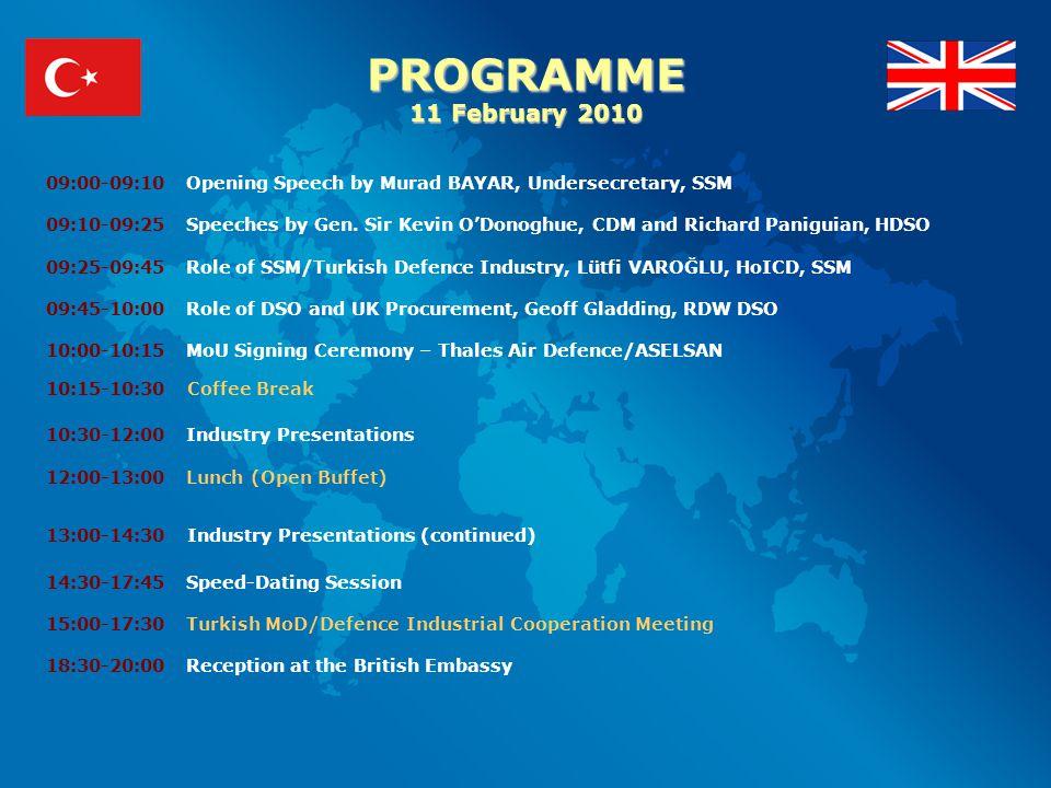 PROGRAMME 11 February 2010 09:00-09:10 Opening Speech by Murad BAYAR, Undersecretary, SSM 09:10-09:25 Speeches by Gen.
