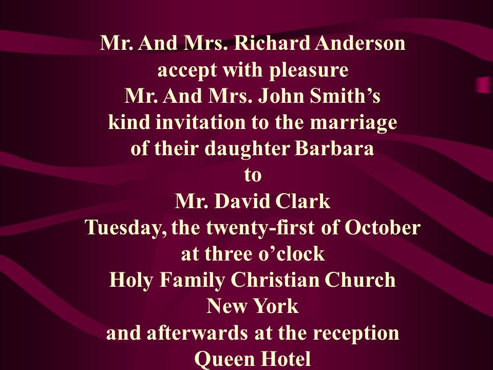 Mr.And Mrs. Richard Anderson accept with pleasure Mr.