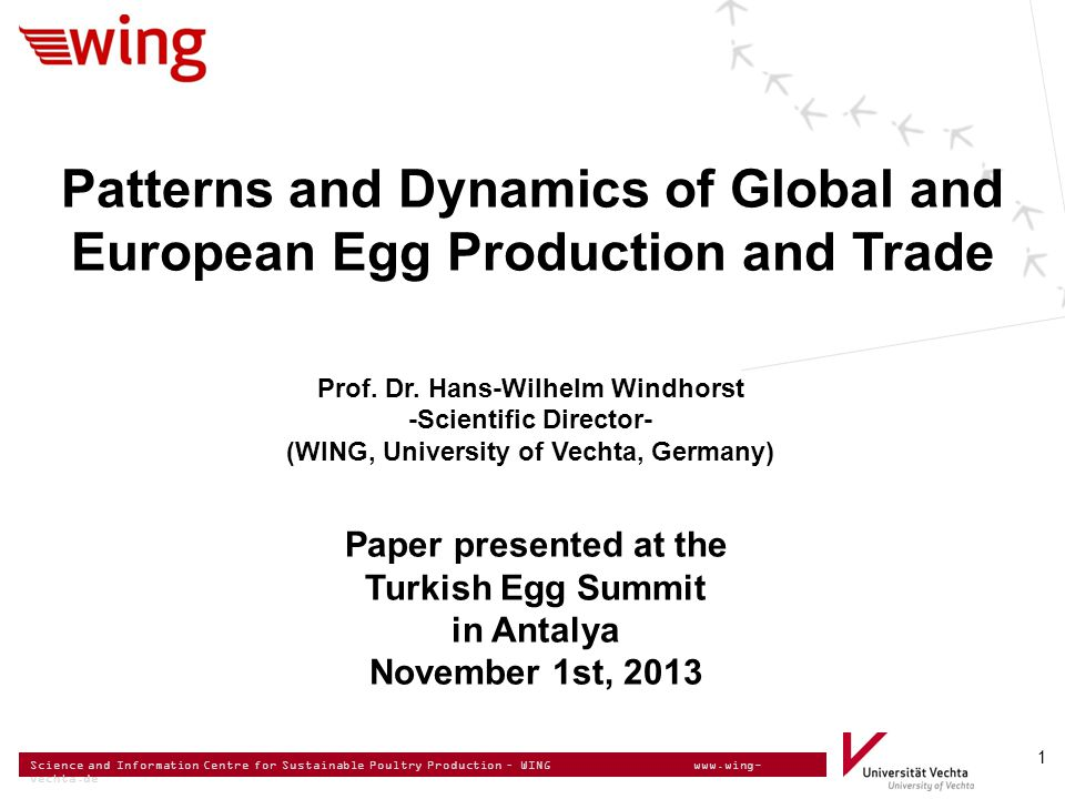 Science and Information Centre for Sustainable Poultry Production – WING www.wing- vechta.de Potential number of laying hens in EU-27 EGG SUPPLY