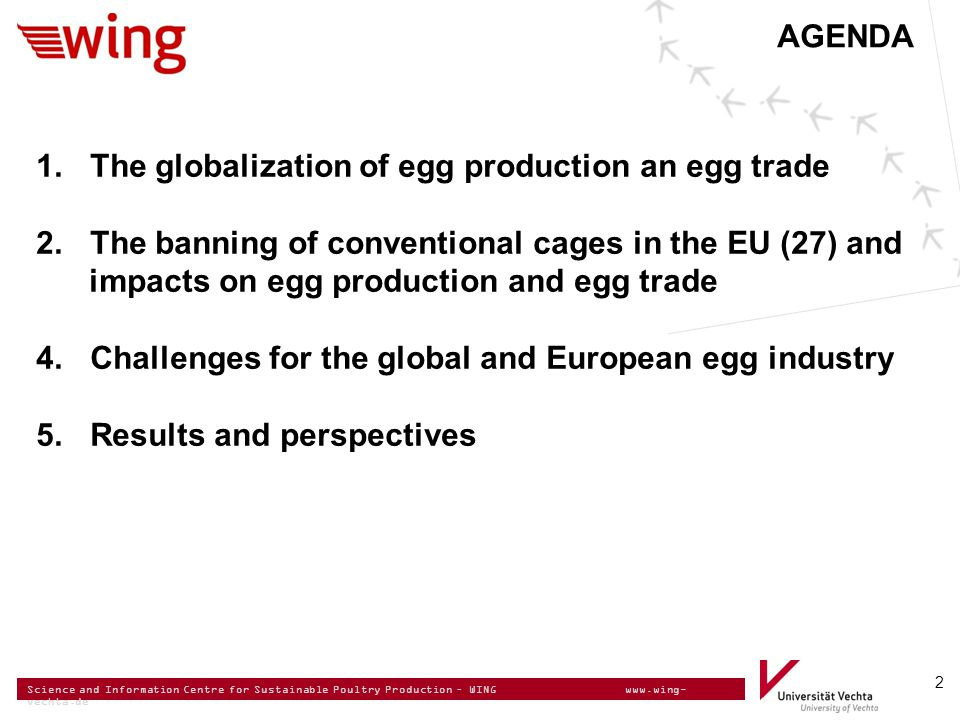 Science and Information Centre for Sustainable Poultry Production – WING www.wing- vechta.de 2 AGENDA 1. The globalization of egg production an egg tr