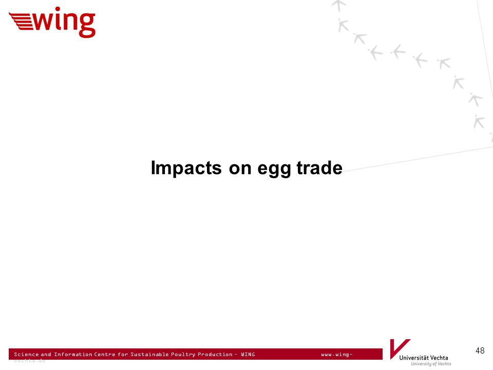 Science and Information Centre for Sustainable Poultry Production – WING www.wing- vechta.de 48 Impacts on egg trade