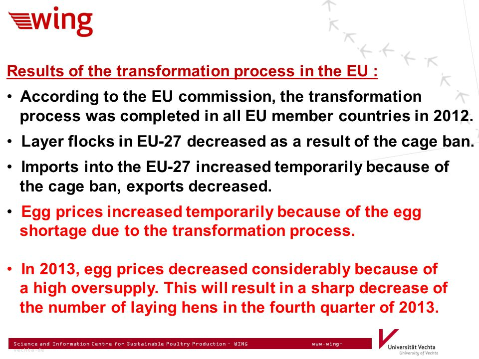 Science and Information Centre for Sustainable Poultry Production – WING www.wing- vechta.de Results of the transformation process in the EU : Accordi
