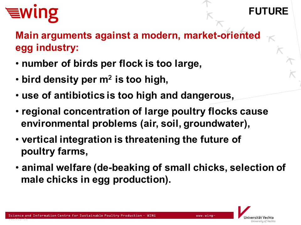 Science and Information Centre for Sustainable Poultry Production – WING www.wing- vechta.de Main arguments against a modern, market-oriented egg indu