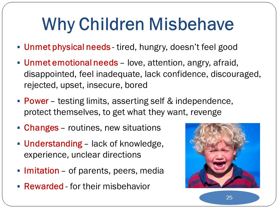 Why Children Misbehave  Unmet physical needs - tired, hungry, doesn't feel good  Unmet emotional needs – love, attention, angry, afraid, disappointe