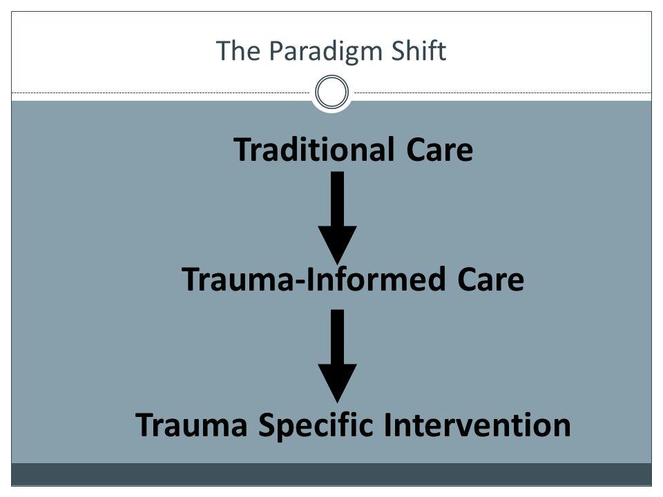 The Paradigm Shift Traditional Care Trauma-Informed Care Trauma Specific Intervention