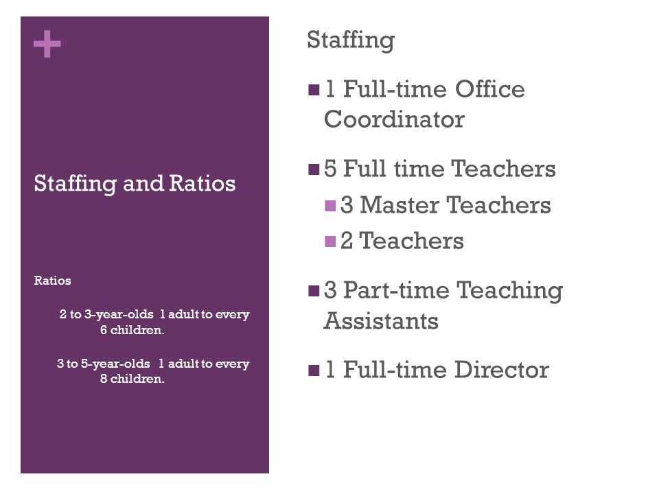 + Staffing and Ratios Staffing 1 Full-time Office Coordinator 5 Full time Teachers 3 Master Teachers 2 Teachers 3 Part-time Teaching Assistants 1 Full-time Director Ratios 2 to 3-year-olds 1 adult to every 6 children.