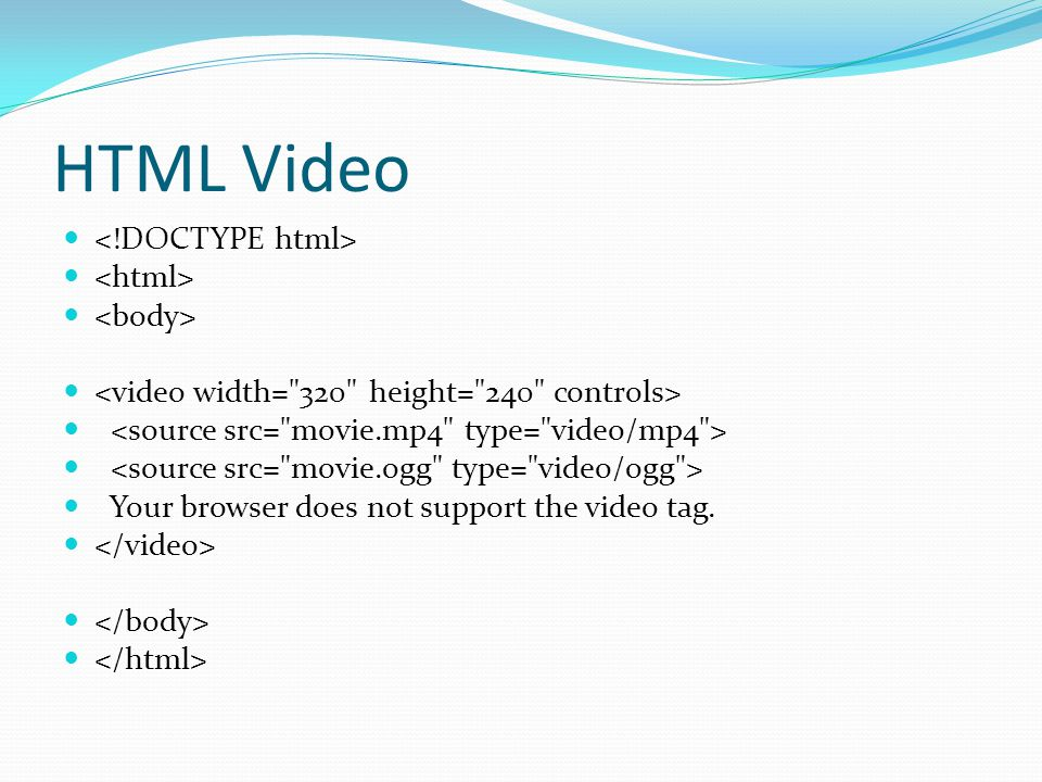 HTML Video Your browser does not support the video tag.
