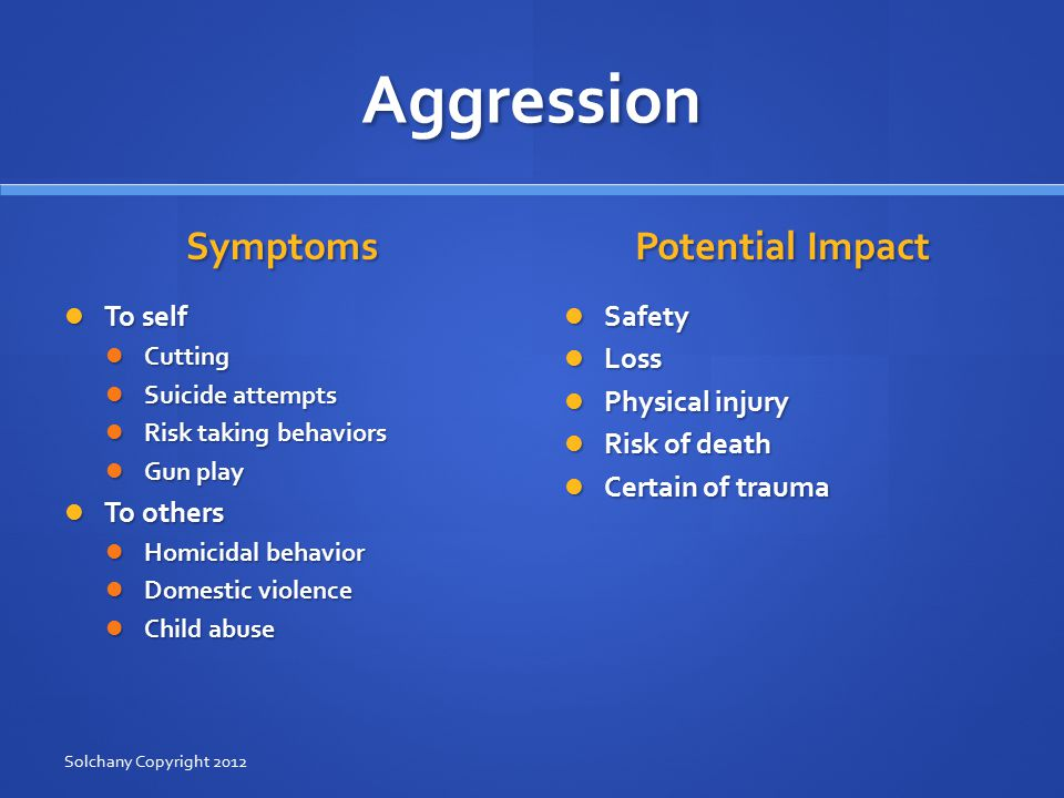 Aggression Symptoms To self Cutting Suicide attempts Risk taking behaviors Gun play To others Homicidal behavior Domestic violence Child abuse Potential Impact Safety Loss Physical injury Risk of death Certain of trauma Solchany Copyright 2012