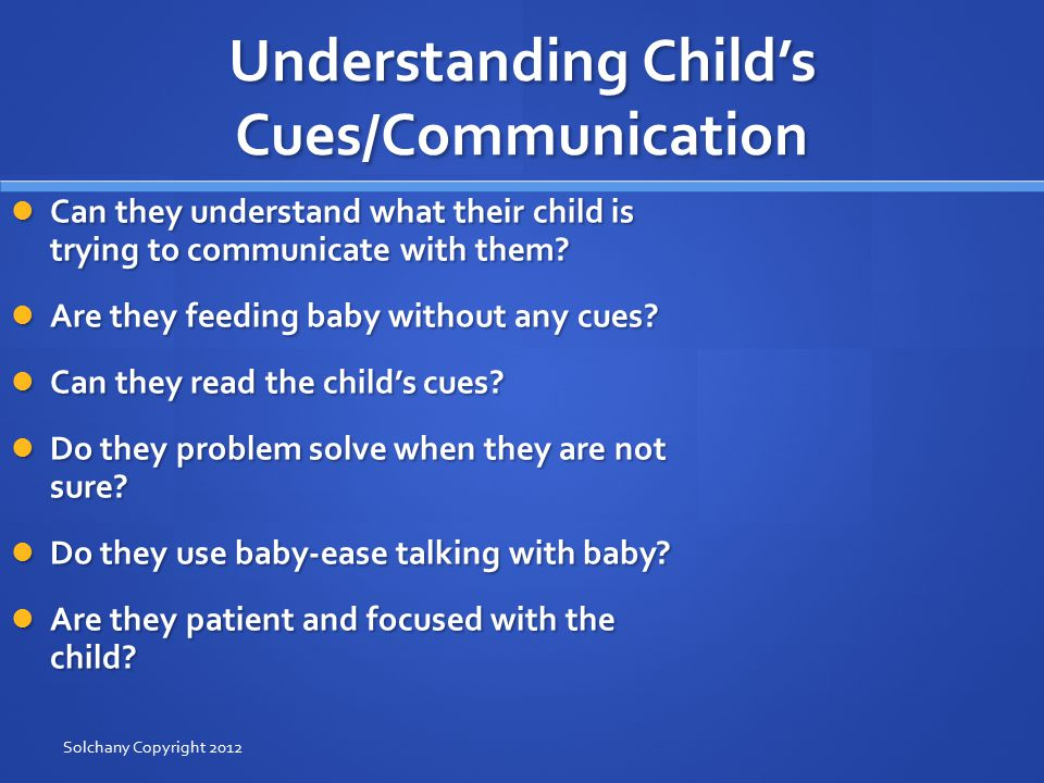 Understanding Child's Cues/Communication Can they understand what their child is trying to communicate with them.