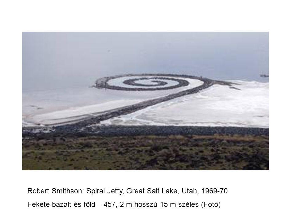 Robert Smithson: Spiral Jetty, Great Salt Lake, Utah, 1969-70 Fekete bazalt és föld – 457, 2 m hosszú 15 m széles (Fotó)