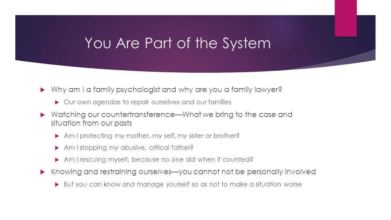 You Are Part of the System  Why am I a family psychologist and why are you a family lawyer.