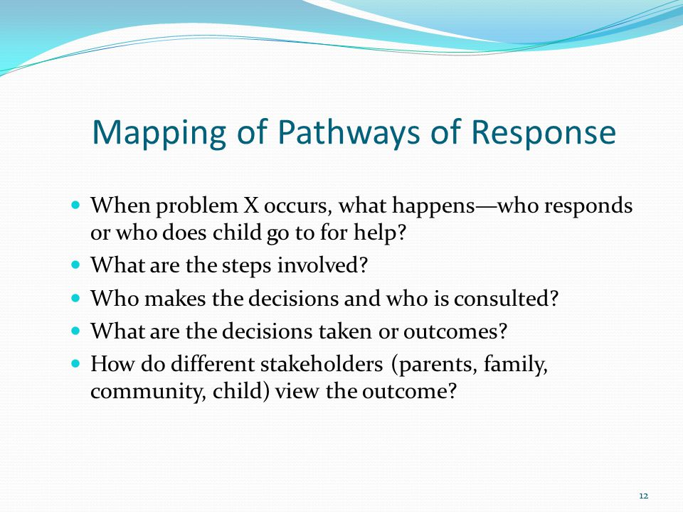 Mapping of Pathways of Response When problem X occurs, what happens—who responds or who does child go to for help.