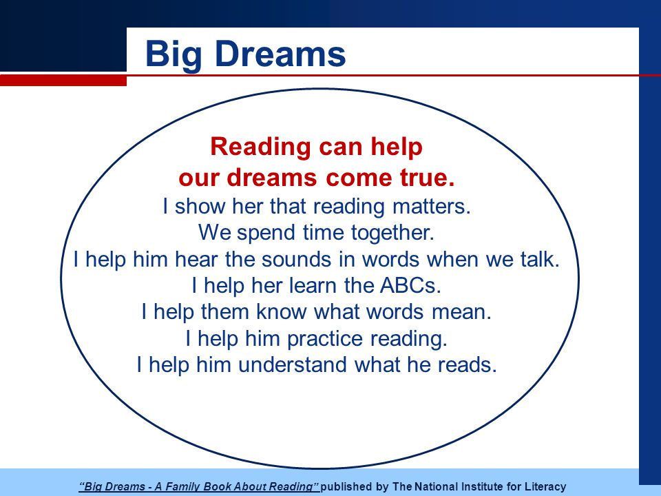 Big Dreams Reading can help our dreams come true. I show her that reading matters.