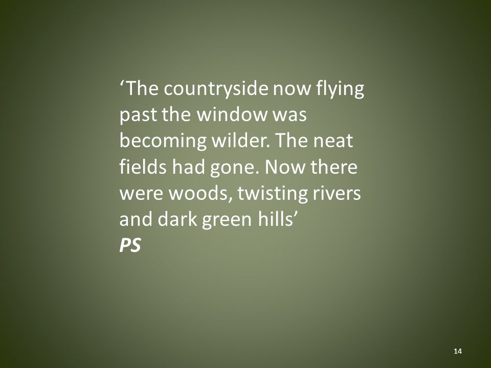 'The countryside now flying past the window was becoming wilder.