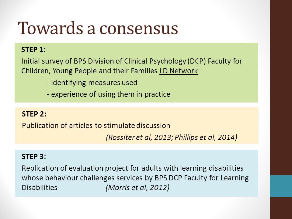 Towards a consensus STEP 1: Initial survey of BPS Division of Clinical Psychology (DCP) Faculty for Children, Young People and their Families LD Netwo
