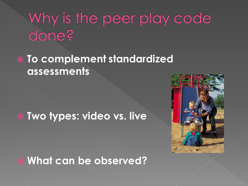  To complement standardized assessments  Two types: video vs. live  What can be observed?