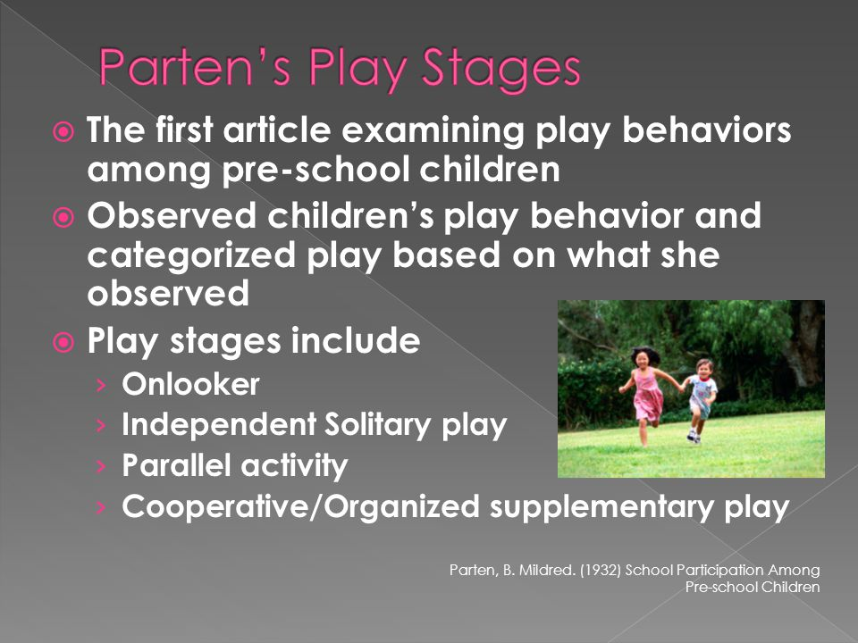  The first article examining play behaviors among pre-school children  Observed children's play behavior and categorized play based on what she observed  Play stages include › Onlooker › Independent Solitary play › Parallel activity › Cooperative/Organized supplementary play Parten, B.