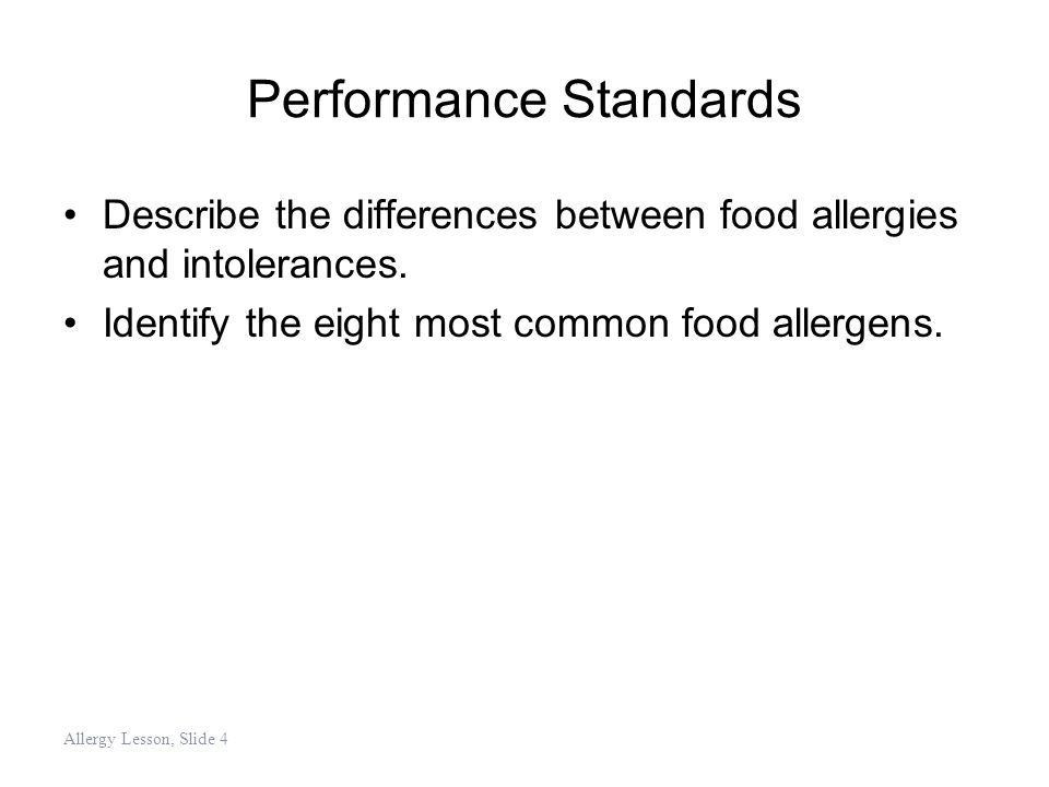 Establish Record-Keeping Procedures Decide what records need to be kept to: –Prevent ingredients or foods that contain allergens from being served to those with allergies –Determine if the HACCP plan is working Allergy Lesson, Slide 55